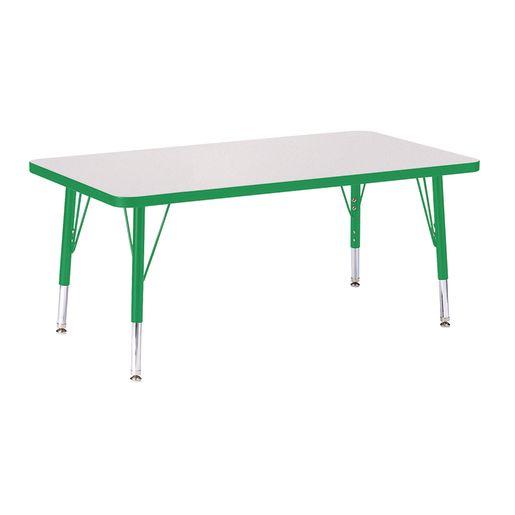"""Berries® 24"""" x 36"""" Rectangle Activity Table, 11"""" - 15"""" Leg Hegiht - Green"""