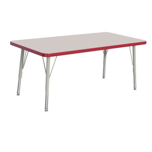 """Berries® 24"""" x 36"""" Rectangle Activity Table, 15"""" - 24"""" Leg Height - Red"""