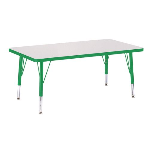 """Berries® 24"""" x 36"""" Rectangle Activity Table, 15"""" - 24"""" Leg Height - Green"""