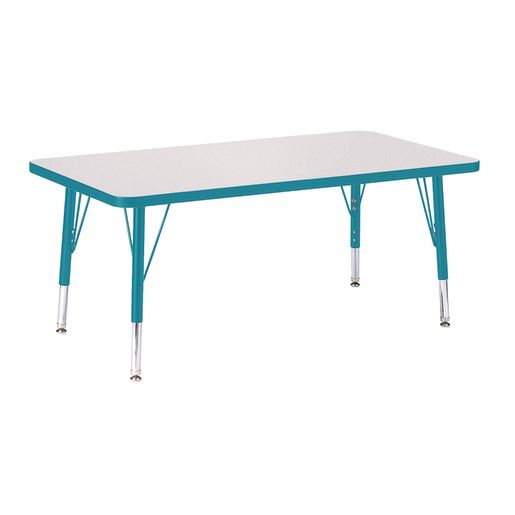 """Berries® 24"""" x 36"""" Rectangle Activity Table, 15"""" - 24"""" Leg Height - Teal"""