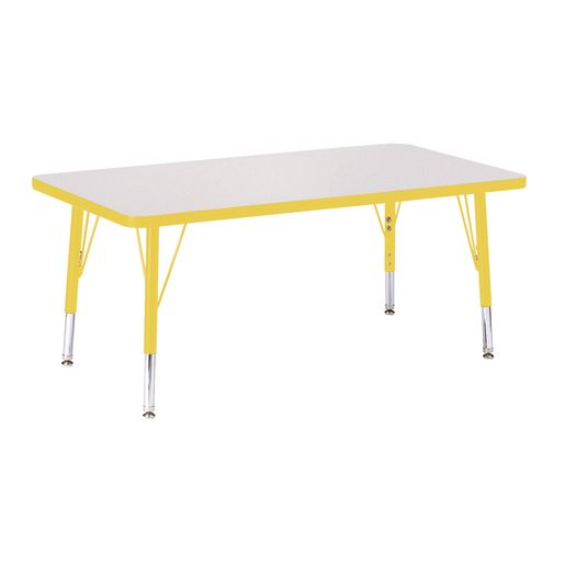 """Berries® 24"""" x 36"""" Rectangle Activity Table, 24"""" - 31"""" Leg Height - Yellow"""
