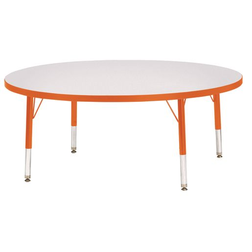 "Berries® 48""Dia. Round Activity Table, 11"" - 15"" Leg Height - Orange"