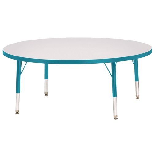 """Berries® 48""""Dia. Round Activity Table, 11"""" - 15"""" Leg Height - Teal"""