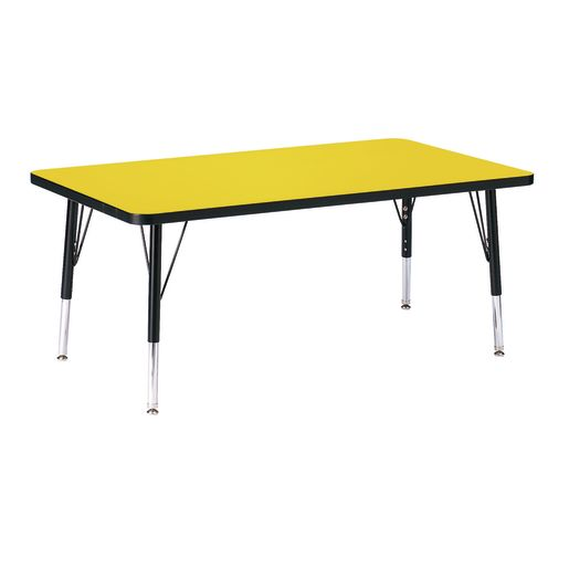 "Berries® 30"" x 48"" Rectangle Activity Table, 11"" - 15"" Leg Height - Yellow/Black"