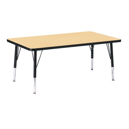 "Berries® 30"" x 48"" Rectangle Activity Table, 11"" - 15"" Leg Height - Maple/Black"