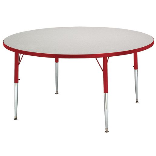 """Berries® 48""""Dia. Round Activity Table, 15"""" - 24"""" Leg Height - Red"""