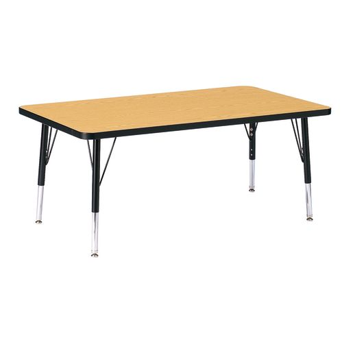"Berries® 30"" x 48"" Rectangle Activity Table, 15"" - 24"" Leg Height - Oak/Black"