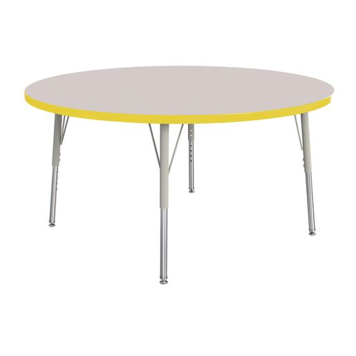 "Berries® 48""Dia. Round Activity Table, 15"" - 24"" Leg Height - Yellow"