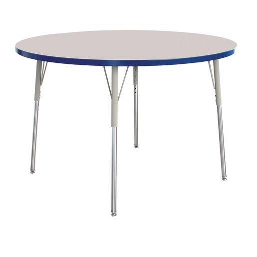 """Berries® 48""""Dia. Round Activity Table, 24"""" - 31"""" Leg Height - Blue"""