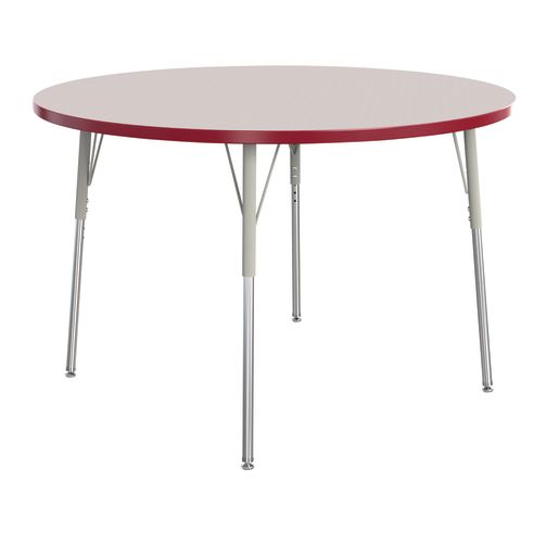 "Berries® 48""Dia. Round Activity Table, 24"" - 31"" Leg Height - Red"