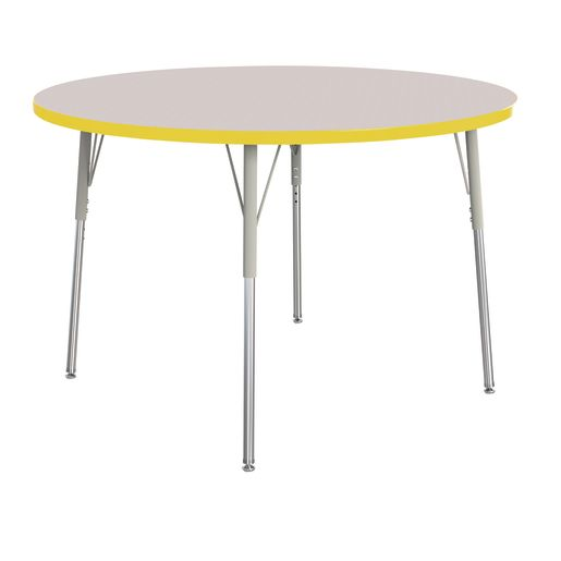 "Berries® 48""Dia. Round Activity Table, 24"" - 31"" Leg Height - Yellow"