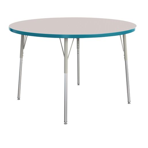 """Berries® 48""""Dia. Round Activity Table, 24"""" - 31"""" Leg Height - Teal"""
