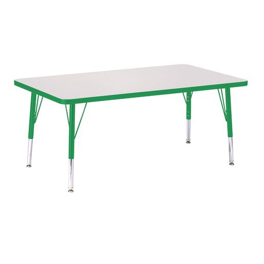 """Berries® 30"""" x 48"""" Rectangle Activity Table, 11"""" - 15"""" Leg Height - Green"""