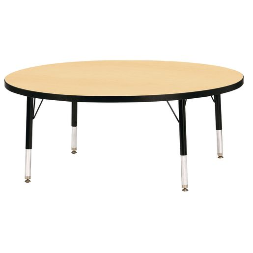 "Berries® 48""Dia. Round Activity Table, 15"" - 24"" Leg Height - Maple/Black"