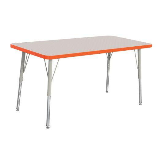 "Berries® 30"" x 48"" Rectangle Activity Table, 15"" - 24"" Leg Height - Orange"