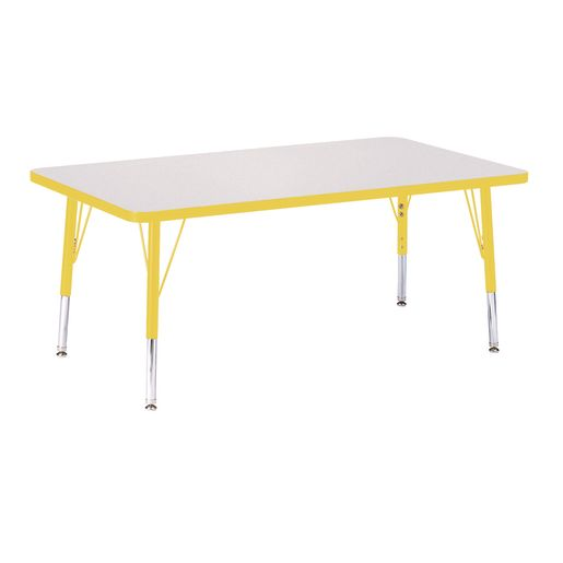 "Berries® 30"" x 48"" Rectangle Activity Table, 15"" - 24"" Leg Height - Yellow"