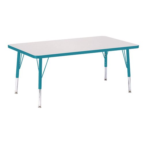 """Berries® 30"""" x 48"""" Rectangle Activity Table, 15"""" - 24"""" Leg Height - Teal"""
