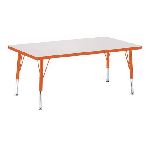 "Berries® 30"" x 48"" Rectangle Activity Table, 24"" - 31"" Leg Height - Orange"