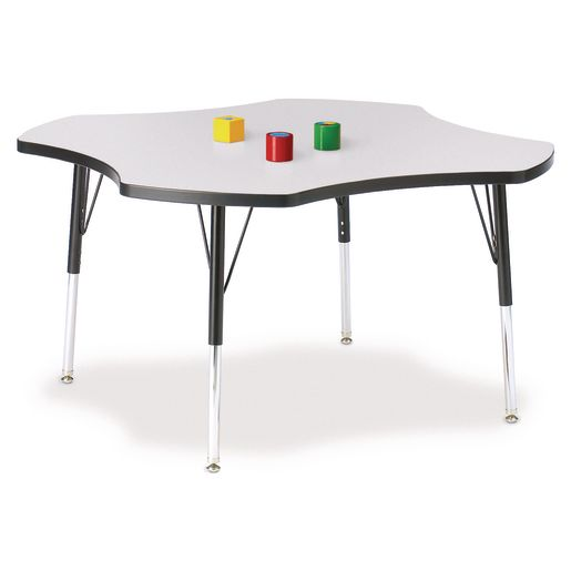"Berries® 48"" Four Leaf Activity Table, 11"" - 15"" Leg Height - Gray/Black"