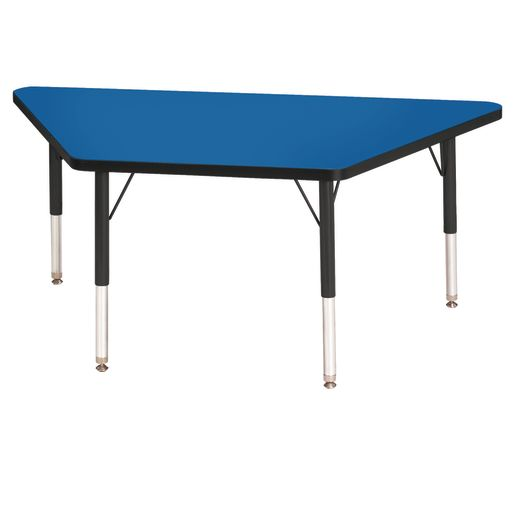 """Berries® 24"""" x 48"""" Trapezoid Activity Table, 15"""" - 24"""" Leg Height - Blue/Black"""