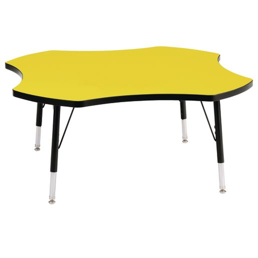 """Berries® 48"""" Four Leaf Activity Table, 24"""" - 31"""" Leg Height - Yellow/Black"""