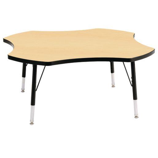"Berries® 48"" Four Leaf Activity Table, 24"" - 31"" Leg Height - Maple/Black"