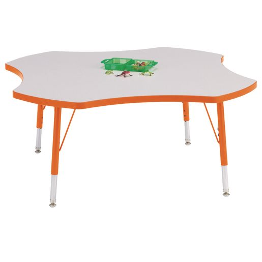 "Berries® 48"" Four Leaf Activity Table, 11"" - 15"" Leg Height - Orange"