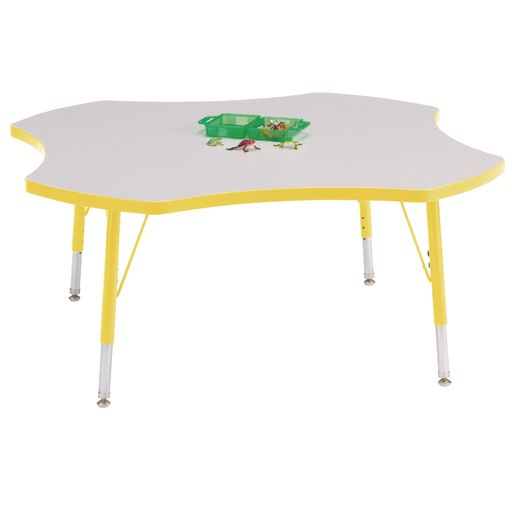 "Berries® 48"" Four Leaf Activity Table, 11"" - 15"" Leg Height - Yellow"