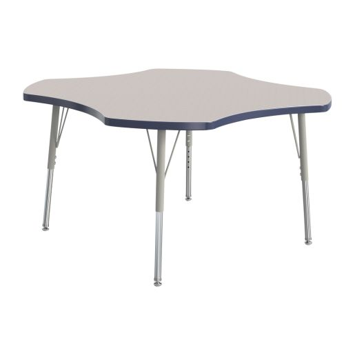 """Berries® 48"""" Four Leaf Activity Table, 15"""" - 24"""" Leg Height - Navy"""