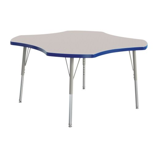 """Berries® 48"""" Four Leaf Activity Table, 15"""" - 24"""" Leg Height - Blue"""