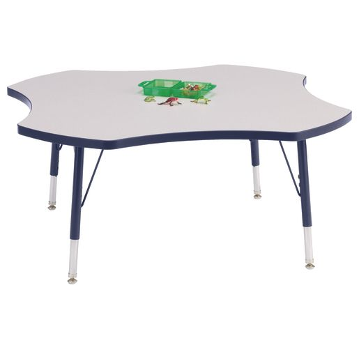 """Berries® 48"""" Four Leaf Activity Table, 24"""" - 31"""" Leg Height - Navy"""