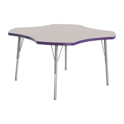 "Berries® 48"" Four Leaf Activity Table, 24"" - 31"" Leg Height - Purple"