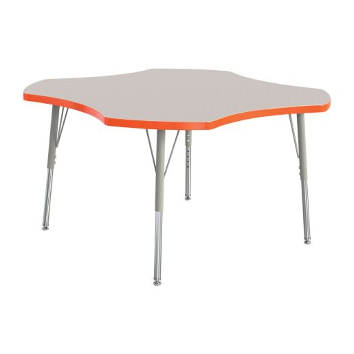 "Berries® 48"" Four Leaf Activity Table, 24"" - 31"" Leg Height - Orange"