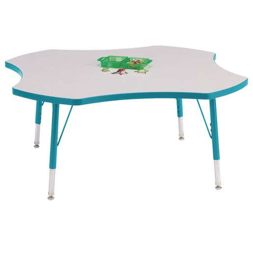 "Berries® 48"" Four Leaf Activity Table, 24"" - 31"" Leg Height - Teal"