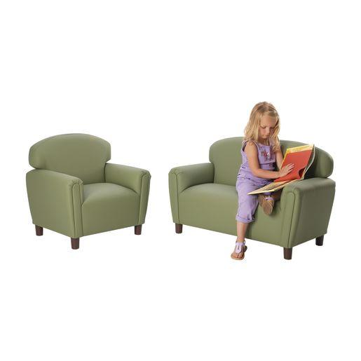 "Preschool Enviro-Child Upholstery Chair 12""H Seat Height - Blue"