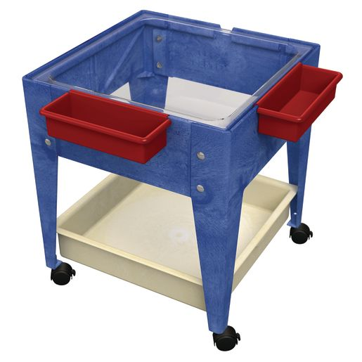 """Mobile Mite Table w/ Clear Liner - 24""""H - Blue"""
