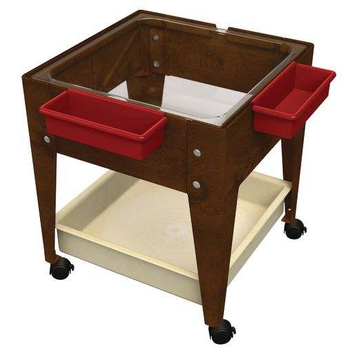 """Mobile Mite Table w/ Clear Liner - 24""""H - Chocolate"""