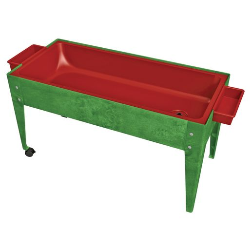 """24"""" Sand and Water Activity Center with Solid Red Liner with 2 Casters - Green"""