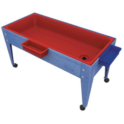 Sand and Water Activity Center - Solid Red Liner with 4 Casters - Blue