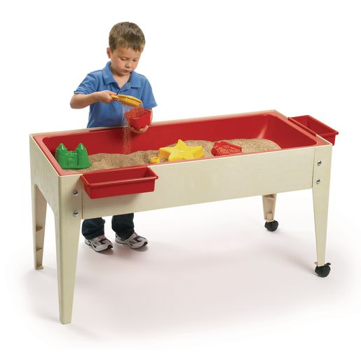 24 Sand And Water Activity Center With Solid Red Liner With 2 Casters Sandstone
