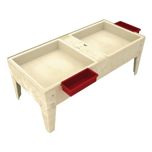 """Double Well S&W Table w/ Liner - 18""""H - Sandstone"""