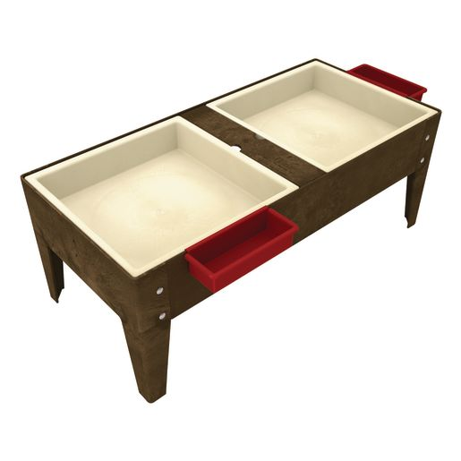 """Double Well S&W Table w/ Liner - 18""""H - Chocolate"""