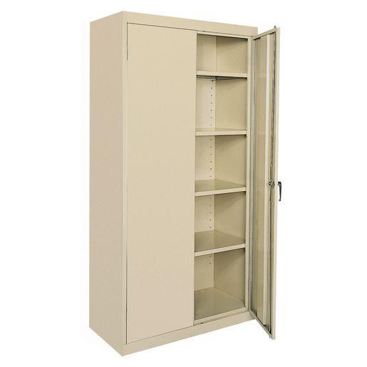 Large Locking Metal Cabinet - Putty