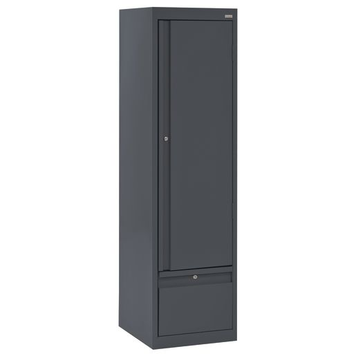 "Metal Storage Cabinet with Drawer- 64""H Single Door - Charcoal"