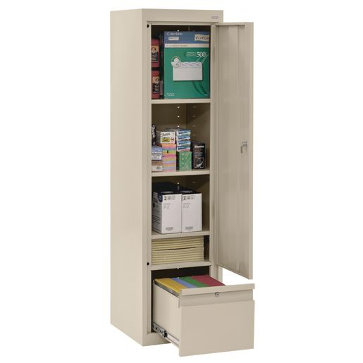 "Metal Storage Cabinet with Drawer- 64""H Single Door - Putty"