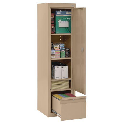"Metal Storage Cabinet with Drawer- 64""H Single Door - Sand"