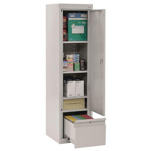 "Metal Storage Cabinet with Drawer- 64""H Single Door - Dove Grey"