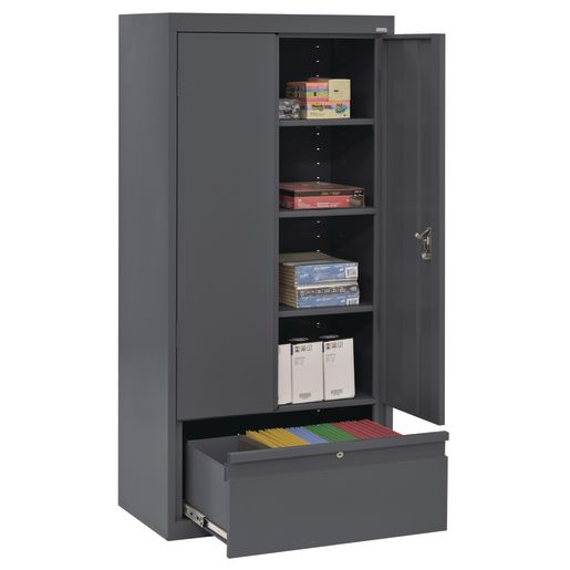 "Metal Storage Cabinet with Drawer- 42""H Double Door - Charcoal"