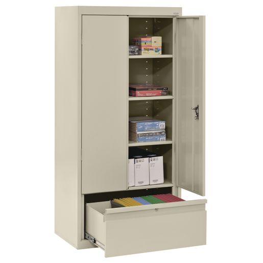"""Metal Storage Cabinet with Drawer- 64""""H Double Door - Putty"""
