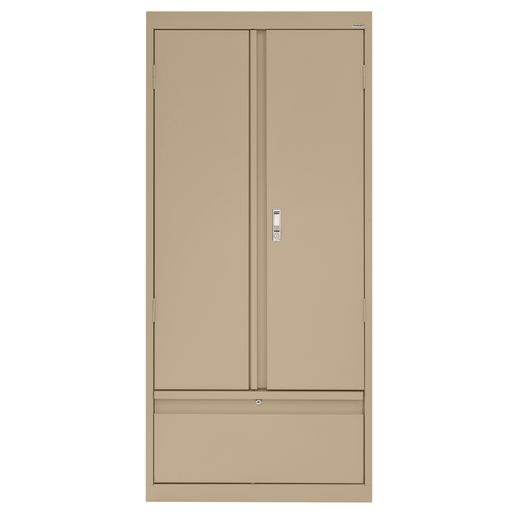 "Metal Storage Cabinet with Drawer- 64""H Double Door - Sand"